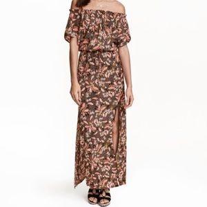 H&M Paisley maxi dress off the shoulder US6